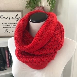 LOFT Knit Cowl Scarf Red and Metallic Silver
